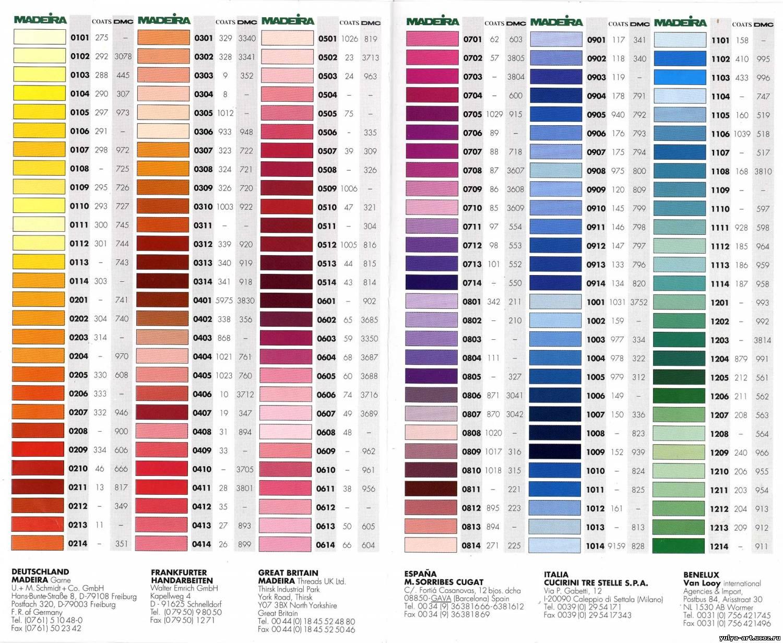 Перевод цветов для вышивки